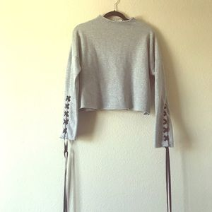 Heart Hips Crop Sweater Grey Size Large